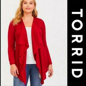 Torrid   Red Drape Cardigan